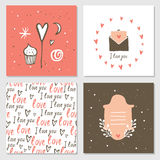 Cute cards with love lettering seamless background pattern Valentines Day Stock Photos