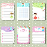 Cute cards, notes with princess theme design. Stock Photography
