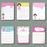 Cute cards, notes, stickers, labels, tags with princess theme design. Template for wrapping, congratulations, invitations Royalty Free Stock Image