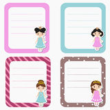 Cute cards, notes, stickers, labels, tags with princess theme design. Template for wrapping, congratulations, invitations Stock Photo
