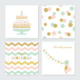 Cute cards set with gold confetti glitter. For baby shower, birthday, party invitation. Stock Photography