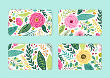 Cute Cards Set With Rustic Hand Drawn Spring Floral Patterns Royalty Free Stock Images