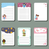 Cute cards or stickers with fairy. vector illustration