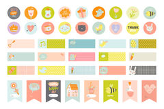 Cute cards and stickers Stock Images