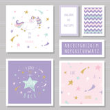 Cute cards with unicorn and gold glitter stars. For birthday invitation, baby shower, Valentine`s day. Stock Photos