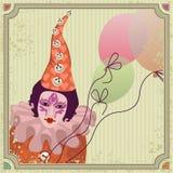 Cute carnival clown with balloons. Cute, colorful carnival clown in pretty costume with balloons Stock Photo