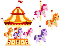 Cute Carousel and Horse Stock Photography