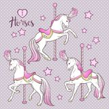 Cute carousel horses and stars set hand drawn design for kids in pastel colors vector illustration royalty free illustration