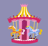 Cute carousel with horses. Vector Illustration Royalty Free Stock Images
