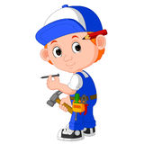 Cute carpenter cartoon Royalty Free Stock Images