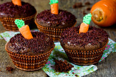 Cute carrot cupcakes Stock Photography