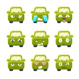 Cute Cars with Emoticons. Vector Set Royalty Free Stock Image