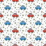 Cute cars and stars seamless pattern Royalty Free Stock Images