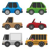 Cute Cars and Trucks Vector Illustration. Cute cars and trucks group featuring a sedan, SUV, pickup truck, sports car, delivery truck and school bus, cartoon vector illustration