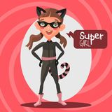 Cute, cartoon, adorable superhero girl Royalty Free Stock Photos