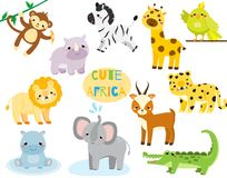 Cute cartoon african animals set. Monkey, rhion, lion and other savannah wildlife for kids and children. Cute cartoon african animals set. Monkey, rhino, zebra royalty free illustration