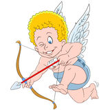 Cute cartoon aiming cupid. Cute little cartoon cupid aiming at someone on Valentine's Day Royalty Free Stock Photos