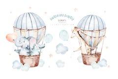 Cute cartoon air balloons birthday party baby elephant , crocodile nand giraffe illustrations. hand drawn baby shower