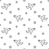 Cute cartoon airplane and colorful stars seamless pattern background illustration. Cute cartoon airplane and colorful stars seamless vector pattern background Royalty Free Stock Image