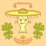 Cute cartoon alien in mexican style with a big mariachi hat vector illustration