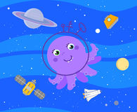 Cute cartoon alien in outer space vector stock illustration