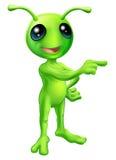 Cute Cartoon Alien Pointing Stock Photo