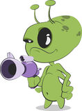 Alien with Ray Gun. Cute cartoon alien with ray gun vector illustration