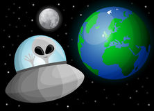Cute cartoon alien in space Royalty Free Stock Image