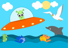 Cute cartoon alien visit the sea funny illustration for kids Stock Image
