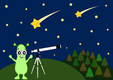 Cute cartoon alien watching falling stars with telescope illustration Stock Photography