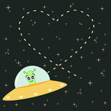 Cute cartoon alien writes heart in the sky romantic and funny illustration Stock Image