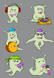 Cute cartoon aliens musicians Royalty Free Stock Photos