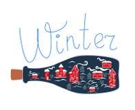 Cute cartoon allegorical illustration. Winter town in glass bottle Stock Photo