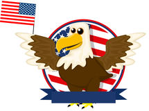 Cute cartoon American bald eagle Stock Images