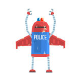 Cute cartoon android policeman character vector Illustration Stock Photo
