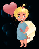 Cute cartoon angel girl with air balloon in in the shape of a heart and with arrows in her hands. Beautiful angel girl like Cupid. St. Valentine's day vector Royalty Free Stock Image