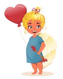 Cute cartoon angel girl with air balloon in in the shape of a heart and with arrows in her hands. Royalty Free Stock Image