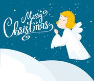 Cute cartoon angel. And snow. Merry christmas. Vector illustration Royalty Free Stock Image