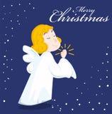 Cute cartoon angel. And snow. Merry christmas. Vector illustration Stock Photos