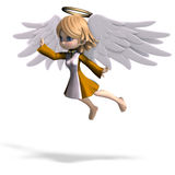Cute cartoon angel with wings and halo. 3D rendering with clipping path and shadow over white Royalty Free Stock Photos