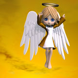 Cute cartoon angel with wings and halo Royalty Free Stock Images