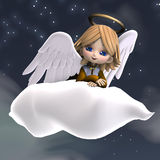 Cute cartoon angel with wings and halo Stock Photo