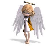 Cute cartoon angel with wings and halo. 3D. Rendering with clipping path and shadow over white Royalty Free Stock Photo