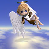 Cute cartoon angel with wings and halo. 3D. Rendering with clipping path Royalty Free Stock Image