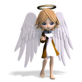 Cute cartoon angel with wings and halo. 3D. Rendering with clipping path and shadow over white Stock Image
