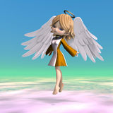 Cute cartoon angel with wings and halo. 3D vector illustration