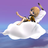 Cute cartoon angel with wings and halo. 3D Stock Photo