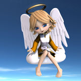 Cute cartoon angel with wings and halo. 3D. Rendering with clipping path Royalty Free Stock Photo