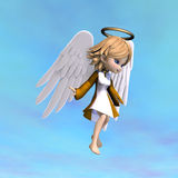 Cute cartoon angel with wings and halo. 3D Royalty Free Stock Photography