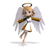 Cute cartoon angel with wings and halo. 3D. Rendering with clipping path and shadow over white Royalty Free Stock Images
